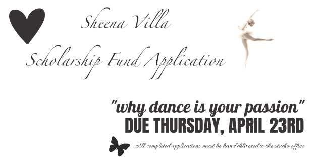 Sheena Scholarship Reminder