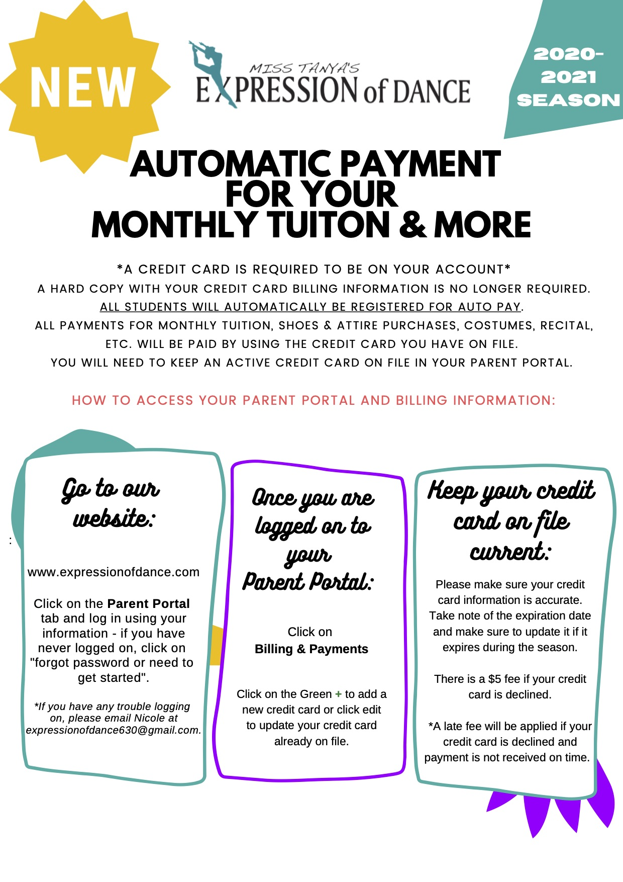 AUTO PAY FOR ALL STUDENTS 2020-2021