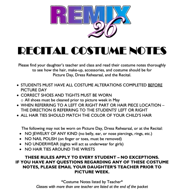 Recital Costume Notes Remix 26 Information Page