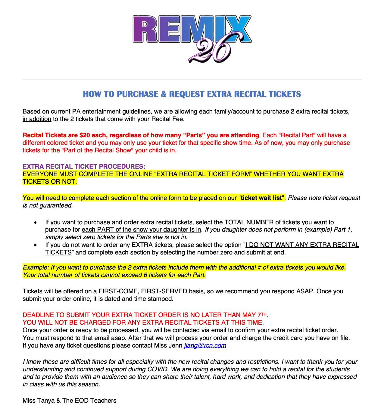 EXTRA RECITAL TICKET PROCEDURES (2)