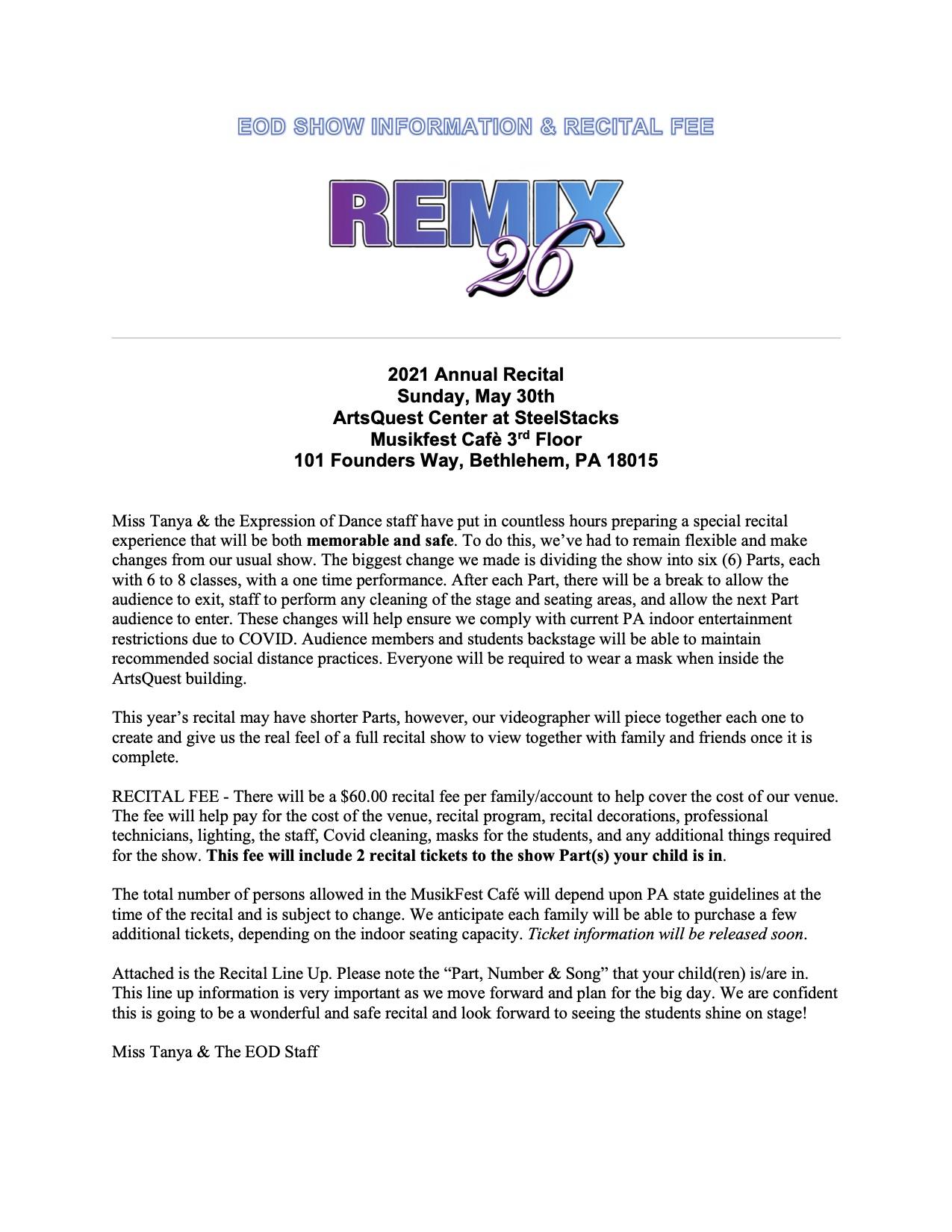 Recital Line Up Letter and Information (1)